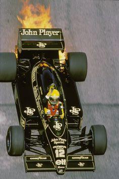 Ayrton Senna in 1985 Lotus Renault 97T