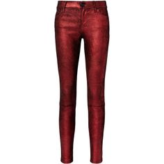 Rta Metallic Crimson Leather Pants (3.520 BRL) ❤ liked on Polyvore featuring pants, bottoms, jeans, red, trousers, crimson pants, metallic pants, red pants, genuine leather pants and red leather trousers