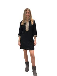 8c5dbd7ea0415e The Olivia Tunic Dress in Black With Gold Embroidered Trim - Liza Byrd  Boutique Tunics,