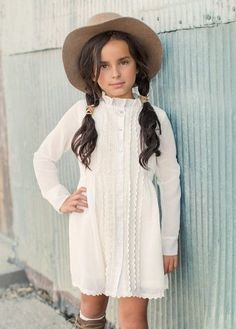 Featuring gorgeous pintuck detailing at the front, and a beautiful ruffle neck detail, this lovely dress is certainly a classic statement. Cozy Fashion, Tween Fashion, Baby Girl Fashion, Toddler Fashion, Stylish Toddler Girl, Stylish Kids, Outfits Niños, Kids Outfits, Little Girl Dresses