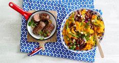 Zoete aardappelstamppot met pompoen, sperziebonen en rundervinken Lidl, Foodies, Curry, Beef, Dinner, Ethnic Recipes, Wordpress, Post, Dinner Ideas