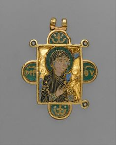 Double-Sided Pendant Icon with the Virgin and Christ Pantokrator. Date: ca. 1100. Geography: Made in Constantinople. Culture: Byzantine. Medium: Gold, cloisonné enamel.