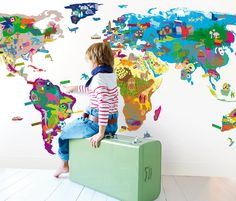 Iconic cultural world map fabric wall decal map fabric wall childrens wall map from mimi lou via oh joy maps gumiabroncs Gallery