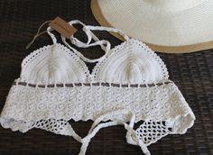 SALE!! Crochet bikini top,straw under bust,Crochet halter top, Women beach wear, Crochet triangle bikini top, swimwear trends, Made to order by ShopFamilyHandmades on Etsy https://www.etsy.com/listing/233941427/sale-crochet-bikini-topstraw-under