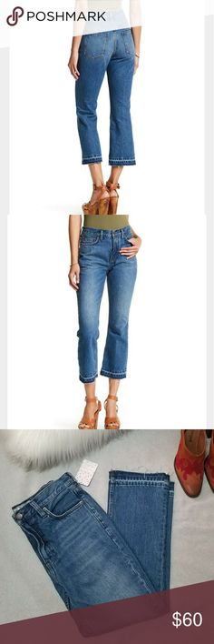 "NWT Free People High Rise Release Hem Cropped Jean Released hem cropped bootcut jeans by Free People. Color is stone blue.  - Zip fly with button closure - 5 pocket construction - Whiskering and fading detail - Unrolled frayed hem - Bootcut leg - Approx. 10"" rise, 25"" inseam (size 26) - 100% cotton Free People Jeans Ankle & Cropped"