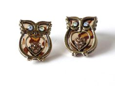 Brown Owl Earrings Heart Studs Post Glass by LovingCorner on Etsy, $15.00
