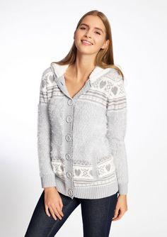 Cardigan met kap in winter inspiratie - W16 LT GREY MELANGE - 04003556_1093
