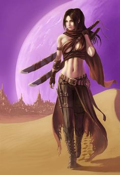 f Rogue Thief Leather Armor Dual Swords Daggers town desert Wanderer d&d DnD twin lg Female Character Concept, Fantasy Character Design, Character Drawing, Character Inspiration, Fantasy Female Warrior, Fantasy Women, Fantasy Girl, Dnd Characters, Fantasy Characters
