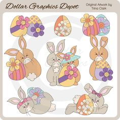 Easter Bunnies 4 - Clip Art - $1.00 : Dollar Graphics Depot, Quality Graphics ~ Discount Prices