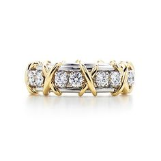 Tiffany - Schlumberger Sixteen Stone ring in gold and platinum with diamonds. Tiffany & Co., Tiffany Rings, Tiffany Jewelry, Stone Rings, Chanel, Wedding Rings For Women, Wedding Bands, Gold Diamond Rings, Diamonds