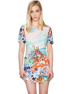 Graphic Floral Shift Dress