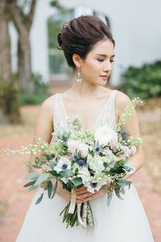 Organic, rustic wedding bouquet   Of Ethereal Beaded Gowns and Rustic Grazing Tables: A Styled Shoot