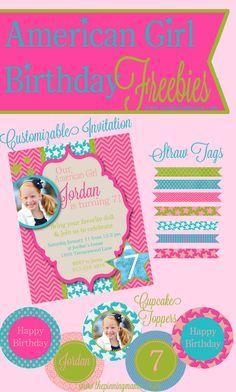 American Girl Birthday Freebies - Birthday Invitation, Cupcake Toppers, Straw Tags