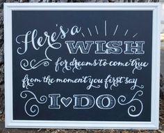 Here's a Wish // Wedding Chalkboard Sign