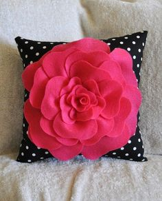 Hot Pink Rose on Black with White Polka Dot Pillow by bedbuggs, $26.00