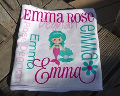 Personalized Mermaid Baby Blanket - Mermaid Receiving Blanket - Baby Name Blanket with Mermaid - Newborn Swaddling Blanket - Baby Photo Prop Soft Baby Blankets, Receiving Blankets, Swaddle Blanket, Mermaid Baby Blanket, Baby Mermaid, Personalized Baby Blankets, Knot Headband, Different Fabrics