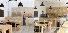 La cooperativa AESSE, si è affidata al designer Giovanni Tomasini di Studio7B per la sua ultima iniziativa: il BIO STORE CAFE' ARMONIA, un locale che offre  prodotti biologici e promuove l'inserimento al lavoro di persone in regime di semi-libertà.  Materiale predominante il legno grezzo naturale debitamente trattato; per tavoli e rivestimenti si è coinvolta la cooperativa PALM W&P promotrice dell'eco-design e anch'essa impegnata nel sociale per l'inserimento al lavoro di persone disagiate.