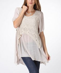Loving this Khaki Crochet Peasant Tunic on #zulily! #zulilyfinds