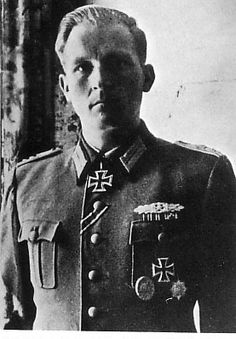 "Hauptmann Erich Röseke, commander 9th Battalion, Jäger Regiment 1 ""Brandenburg"". As a first lieutenant he was involved in heavy fighting on the Eastern front: ""As battalion leader, First Lieutenant Röseke held the Apatin bridgehead in November of 1944 in hard defensive fighting against the Soviets who had crossed the Danube. Through his steadfastness he prevented their immediate further penetration to the west."" For this he was awarded the Knight's Cross of the Iron Cross on 14 April 1945."