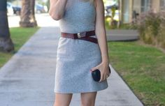 Theory Dress, Alexandra DeClaris Clutch, Manolo Blahnik Pumps, Maje Belt, AERIN 'Mercer' Lipstick
