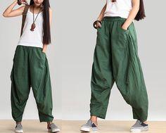 Green Women Linen Pants Long Trousers Casual Stretchy Waist Large Leg Pants on Etsy, $68.00