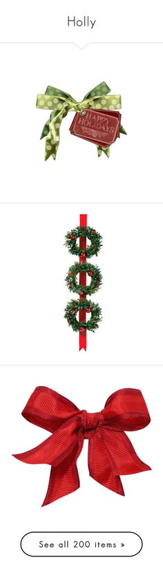 """""""Holly"""" by ebbyinez ❤ liked on Polyvore featuring christmas, home, home decor, holiday decorations, red berry christmas wreath, christmas ribbon wreath, berry christmas wreath, battery lighted wreaths, xmas wreath and bows"""