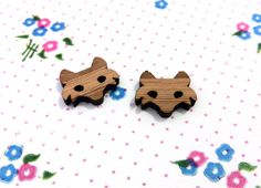 One Pair Bamboo Fox Laser Cut Earring Supplies by CraftyCutsLaser, $1.25 Cute!