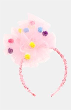 Diy Crafts - hmmm I have pom poms and I have tulle I might have to try my hand at making a bow ; Tulle Headband, Pom Pom Headband, Tulle Bows, Ribbon Bows, Headbands, Crown Headband, Felt Hair Clips, Diy Hair Bows, Girls Hair Accessories