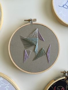 Neutral abstract Triangle Hoop Art Embroidery by HalfCrassStitched