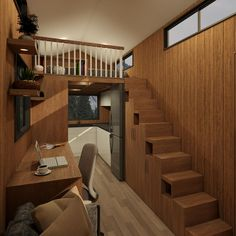 The Adventurer - metre tiny house is designed for those that want a bit more space in their tiny home. With two lofts and a full size U-shaped kitchen the Adventurer is perfect for those who need a bit more room than the typical tiny house. Casa Loft, Tiny House Living, Living Room, Tiny House Plans, Tiny House Design, Home Improvement Projects, Home Interior Design, Small Spaces, Building A House