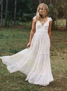 Vintage Hippie Wedding Dress Inspired Dresses Bohemian White