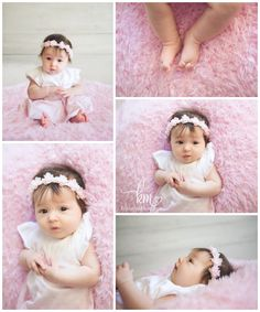 3 month old poses - pink and flowers