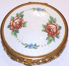 Vintage Compact Guilloche Enamel Top Floral Motif Mesh Bottom Compact Mirror Makeup Compact