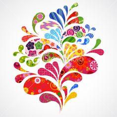 Splash of floral and ornamental drops background. Pattern Design, Print Design, Graphic Design, Photo Splash, Expressive Art, Flower Doodles, Work Inspiration, Doodle Art, Vector Art