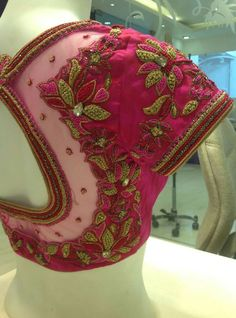 Pink Thread and HeavyWork Embroidery Bridal Blouse Netted Blouse Designs, Fancy Blouse Designs, Bridal Blouse Designs, Blouse Neck Designs, Hand Work Blouse Design, Stylish Blouse Design, Aari Work Blouse, Designer Blouse Patterns, Couture