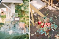 LOVE the apples incorporated into the flower arrangements along the aisle in this rustic, fall wedding - it's perfect! ~Carrie