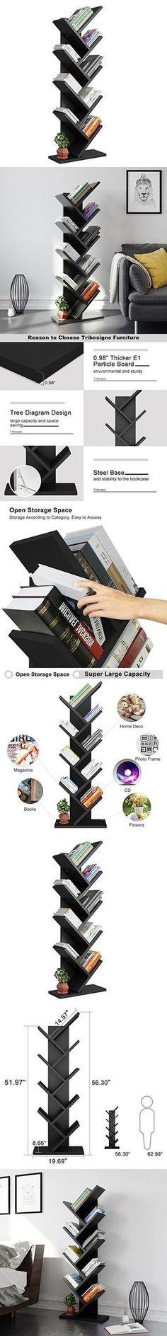 Tribesigns 9-Shelf Tree Shaped Bookcase Book Shelf Modern Stylish Kids Children Bookshelf Shelving Display Storage Rack for CD Book Home Office Decor (Black)