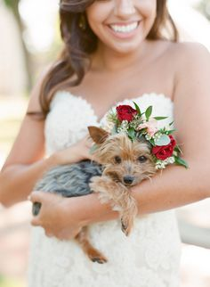 The sweetest, tiniest little flower pup we've ever seen! http://www.stylemepretty.com/little-black-book-blog/2015/11/20/elegant-austin-bridal-session/   Photography: Mint Photography - http://mymintphotography.com/