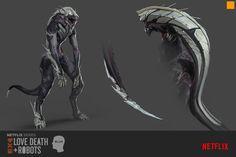 "Love, Death + Robots ""Sonnie's Edge"" by Darren Bartley Monster Concept Art, Alien Concept Art, Creature Concept Art, Monster Art, Alien Creatures, Mythical Creatures, Creature Feature, Creature Design, Creepy Monster"
