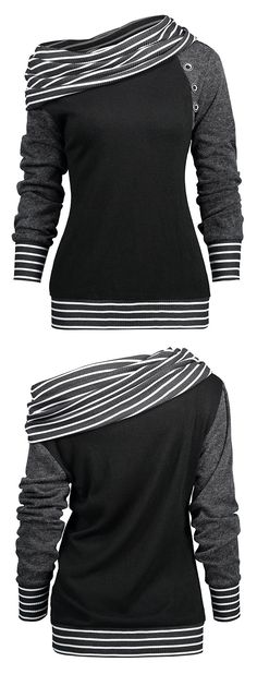 Casual fashion two ways wearing long sleeve tee features stripe knitted fabric panel collar and brim with buttons embellished - Skew neck or off the shoulder - Pull-on style