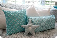 Any Martha Stewart paint can be spray painted. Stenciled Pillows {tutorial} — New Martha Stewart Decorative Paint Line! Martha Stewart Stencils, Martha Stewart Paint, Martha Stewart Crafts, Stenciled Pillows, Diy Pillows, Decorative Pillows, Teal Pillows, Homemade Pillows, Pillow Crafts