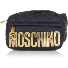 Moschino Fabric waist Bag ($185) ❤ liked on Polyvore featuring bags, handbags, black, fanny bag, moschino, waist bag, moschino bags and waist pack bag