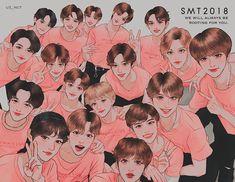 my bias is in the pink shirt Kpop Drawings, Art Drawings, Nct 127, Kpop Anime, Zen, Nct Yuta, Nct Taeyong, Na Jaemin, Kpop Fanart