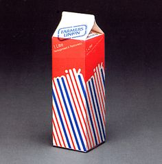 """Vintage milk packaging""   A very graphic approach to early 1980s packaging design."
