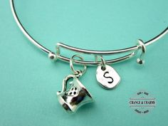 Teacup Bangle, Coffee Cup Bangle, Teacup, Coffee Cup, Initial Charm, Personalized, Silver Plated Bangle, Charm Bracelet, Bangle, Bracelet