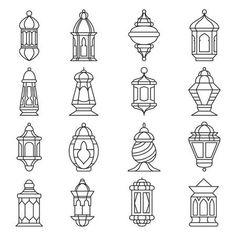 Islamic lamp or light, muslim traditional fanoos line art. Vector flat style illustration isolated on white background ramadan Ramadan lantern set. Islamic lamp or light, muslim traditional. Eid Crafts, Ramadan Crafts, Lantern Craft, Lantern Set, Decoraciones Ramadan, Lantern Drawing, Ramadan Tips, Ramadan Lantern, Line Art Vector
