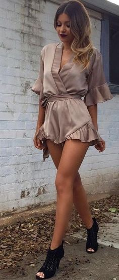 Dusty Pink Silk Romper @roressclothes closet ideas #women fashion outfit #clothing style apparel