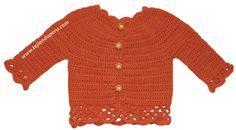 Cómo tejer una chaqueta con bordes calados a crochet para niñas