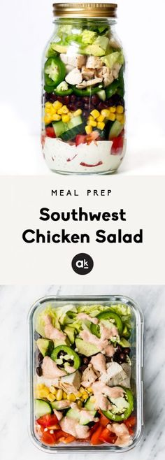 Delicious southwest chicken salad with an incredible homemade chipotle greek yogurt ranch dressing. This veggie and protein-packed salad is perfect for meal prep! #mealprep #healthyeating #salad #healthyrecipes #lunch