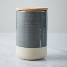 Helen James Considered Sanford storage container crafted from hand-dipped earthenware with an appealing half glazed finish and solid oak lid Artisan Food, Kitchen Essentials, Storage Containers, Earthenware, Solid Oak, Pottery Art, Clay, It Is Finished, Content